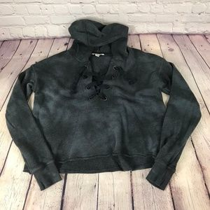 American Eagle Outfitters Lace Up Hooded Sweater